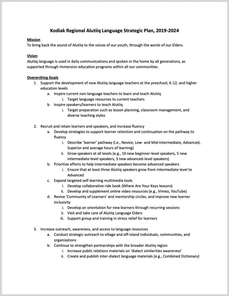 Kodiak Regional Alutiiq Language Strategic Plan, 2019-2024